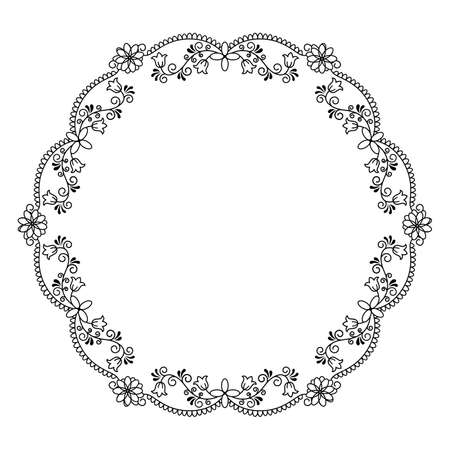 Stock vector illustration of a round frame with vines and flowers in a linear style, isolated, black on a white background.