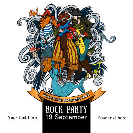 Vector Illustration Design of a poster for a rock party for a holiday Talk like a Pirate Day on white background Çizim