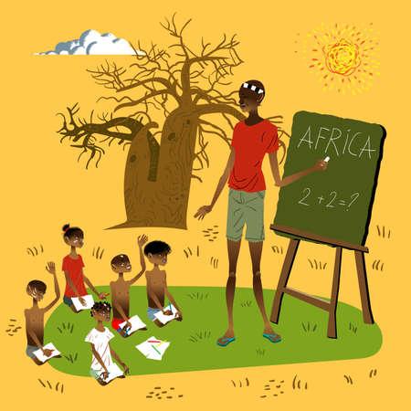 Illustration vectorielle École africaine Banque d'images - 87935313