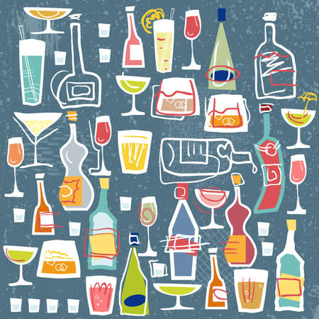 Stock Vector Illustration Bottles and glasses. You can use for registration of signboards, menus, booklets, flyers, banners.