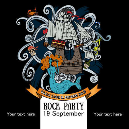 Vector Illustration Design of a poster for a rock party for a holiday Talk like a Pirate Day on black background with the ship