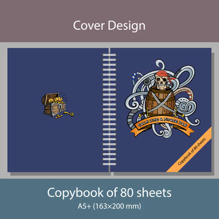 Vector Illustration Cover design for a notebook with pirate motifs