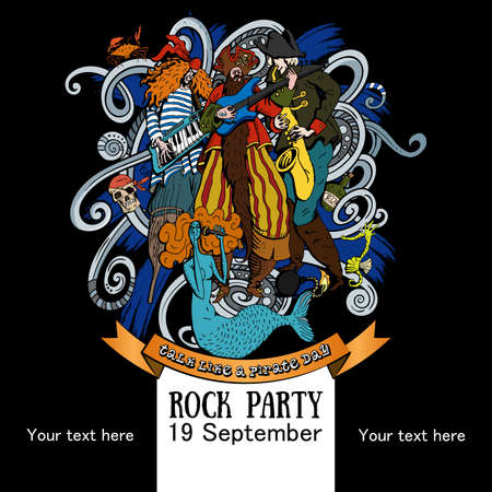 Vector Illustration Design of a poster for a rock party for a holiday Talk like a Pirate Day on black background