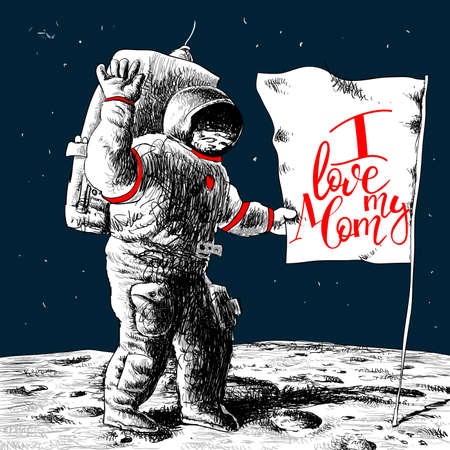 Black-and-white astronaut images on the surface of the moon with craters. The astronaut holds a flag bearing the inscription I love my mother. Çizim