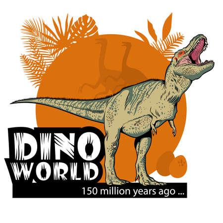 Ejemplo común del vector con una imagen de un tiranosaurio en un fondo anaranjado y una inscripción. Puede ser utilizado como una impresión o póster.