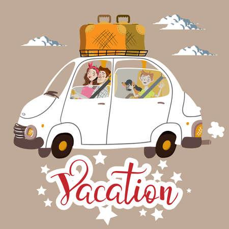 Vector illustration family vacation