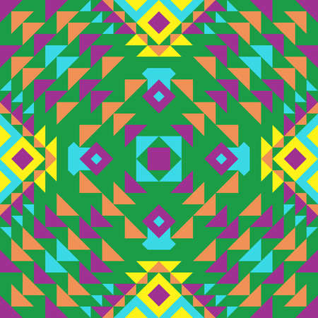 Ethnic green seamless pattern with Mexican motives