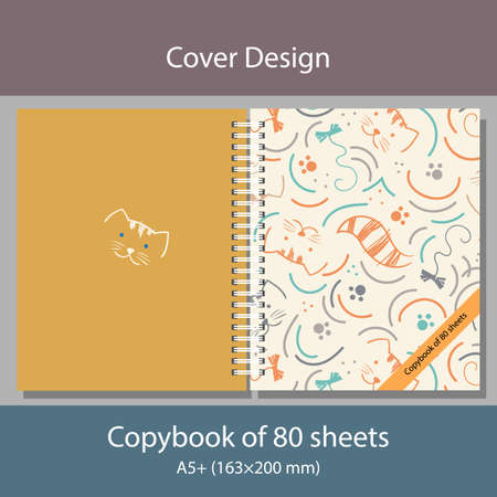 Vector Illustration Cover design Copybook with doodle cats on ylellow background Çizim