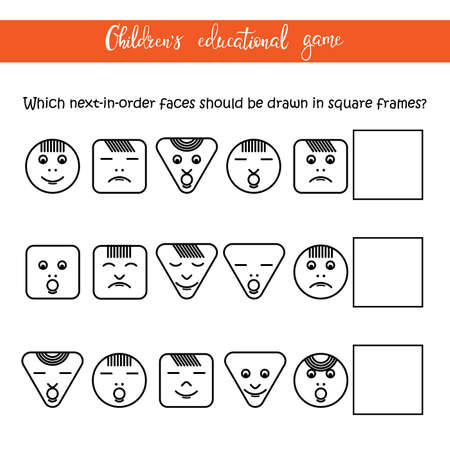 Childrens educational game - Faces. The game develops attention, logic, perseverance. You can use it for a childrens column of a magazine or a newspaper.