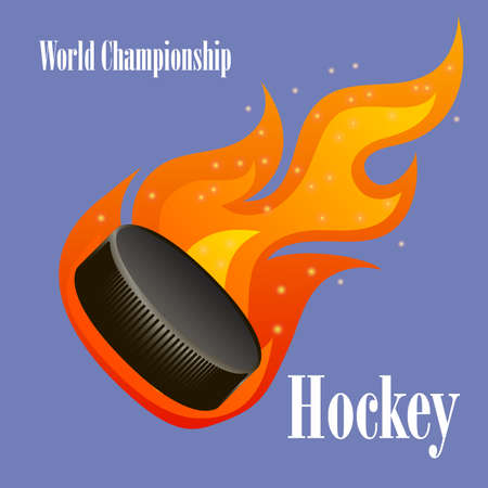 Vector illustration of a flying flaming hockey puck. Can be used for prints on T-shirts, posters, etc. Çizim