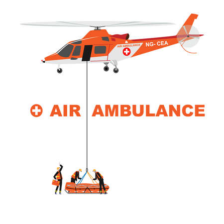 Cartoon illustration: Helicopter rescues a patient from a remote place