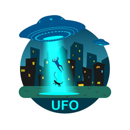 Stock vector illustration UFO night kidnap man and his dog with a ray of light on a background of urban buildings