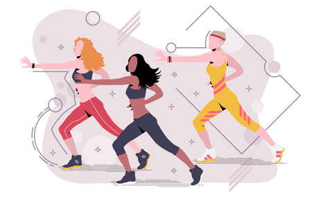 Aerobics. Three slender girls are engaged in fitness. Sport to the music. The concept of a healthy lifestyle. Isolated vector illustration on white background.