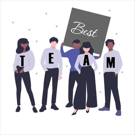 The concept of the best team. Five characters stand with the inscription Best Team. Isolated vector illustration on white background. Çizim