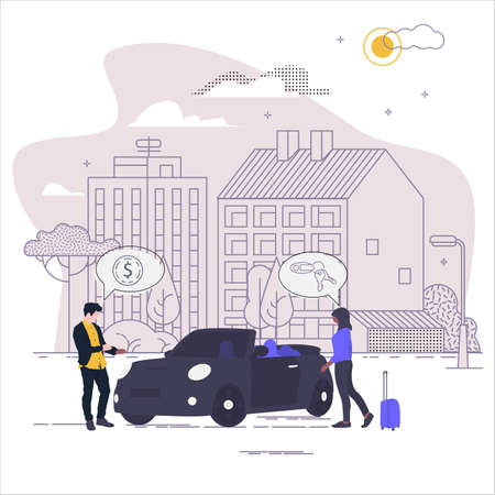 Carsharing. The landscape of the urban landscape. Vector illustration in flat style.
