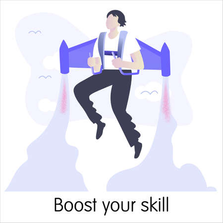 Concept of metaphorical idea. Boost your skill. Isolated vector illustration on white background. Illustration