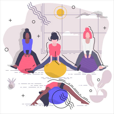 Fitness Four girls are engaged in fitness on fitness balls. Vector illustration in white background. Иллюстрация