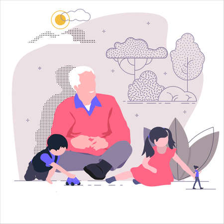 Grandfather playing with his little grandchildren in nature. Isolated vector illustration of modern flat style. Çizim