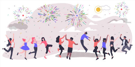 Summer holiday. Fireworks, confetti, sun and clouds. Vector illustration in flat style.