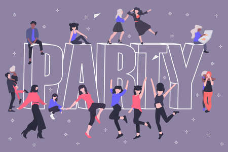 A party. Template poster or greeting card. Dancing and fun people. Inscription Party. Vector illustration in modern flat style.