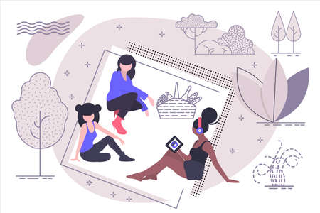 Picnic. Three girls sit in nature with a picnic basket. Isolated vector illustration in modern flat style.