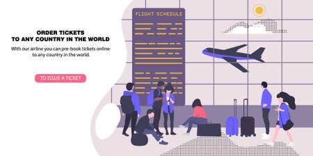 Template landing page for booking plane tickets. Air screen at the airport with airplanes Vector illustration in flat style. Çizim