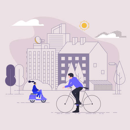 City space with a bike and a girl on a scooter. Active leisure and lifestyle. Vector illustration in flat style with stroke. Çizim
