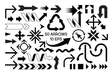 Set of 50 black and white simple arrows isolated on a white background stock vector illustration