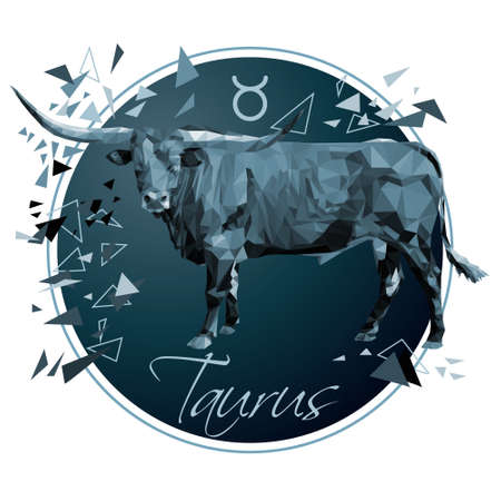 Zodiac sign Taurus low poly isolated illustration stock vector illustration on a white background