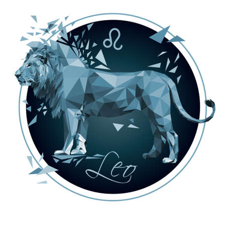 Zodiac sign Leo low poly stock vector illustration isolated on white background