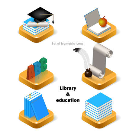 Set of six isometric library and education icons. Isolated stock vector illustration on white background