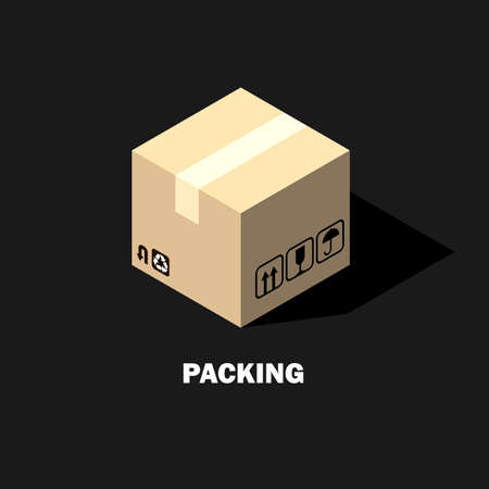 Cardboard Box Isometric Icon Packaging Stock Vector Illustration