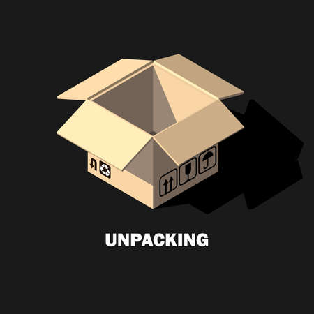 Open Cardboard Box Isometric Icon Unpacking Stock Vector Illustration Stok Fotoğraf