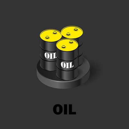 Black oil barrels with a yellow cap. Oil production isometric icon. Stock vector illustration on a dark background. Stok Fotoğraf