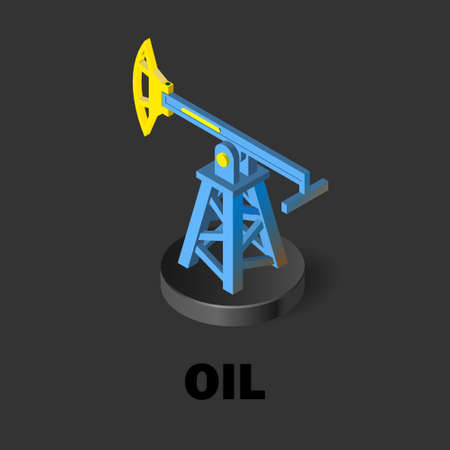 Oil pump. Oil production isometric icon. Stock vector illustration on a dark background