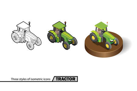 Three styles of tractor isometric icons isolated stock vector illustration on white background