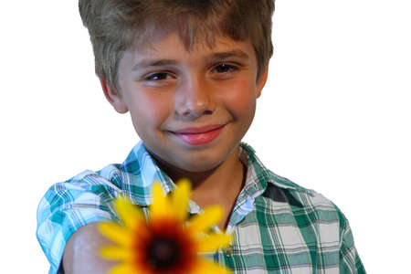 Boy giving flower isolated on white