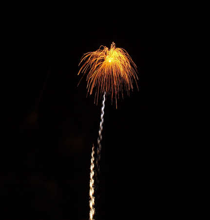 Fireworks with leading streamer Stock Photo