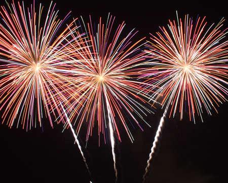 Fireworks with three bursts