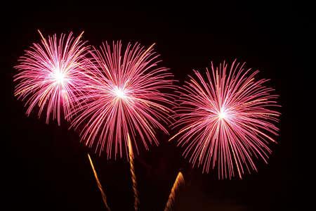 Three Bursts Fireworks Standard-Bild