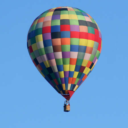Colorful Squares on Hot Air Balloon in blue sky