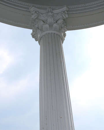Inside view of a pillar with blue sky in background