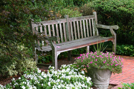 sitting on bench: Nice relaxing view of a peaceful garden bench