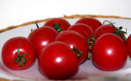 Plate of delicious red ripe tomatos Standard-Bild