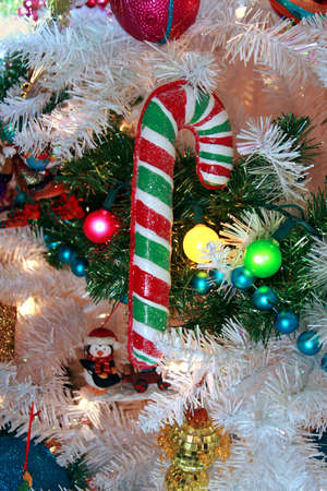 Candy cane on white and green Christmas tree