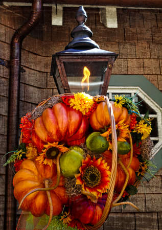 fall decoration: Fall Decoration on Rustic Lamp Stock Photo
