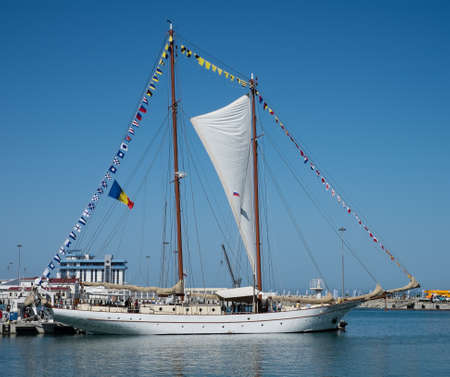 schooner: SOCHI, RUSSIA - 16 MAY, 2014. The Romanian schooner Adornate. Large sailing ships in the port of Sochi. Editorial