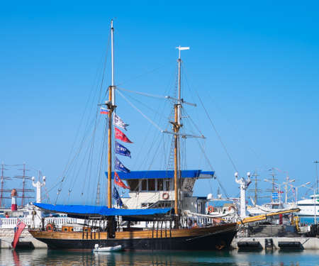 schooner: SOCHI, RUSSIA - 16 MAY, 2014. The British schooner Johanna Lucretia. Large sailing ships in the port of Sochi.