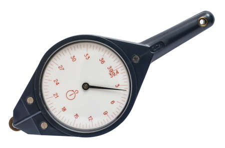 mensuration: Old mechanical curvimeter isolated on white background. Device for measuring the length of curves, such as on a map. Stock Photo
