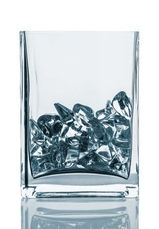 painted image: Empty glass with ice cubes. Painted image isolated on the white background.